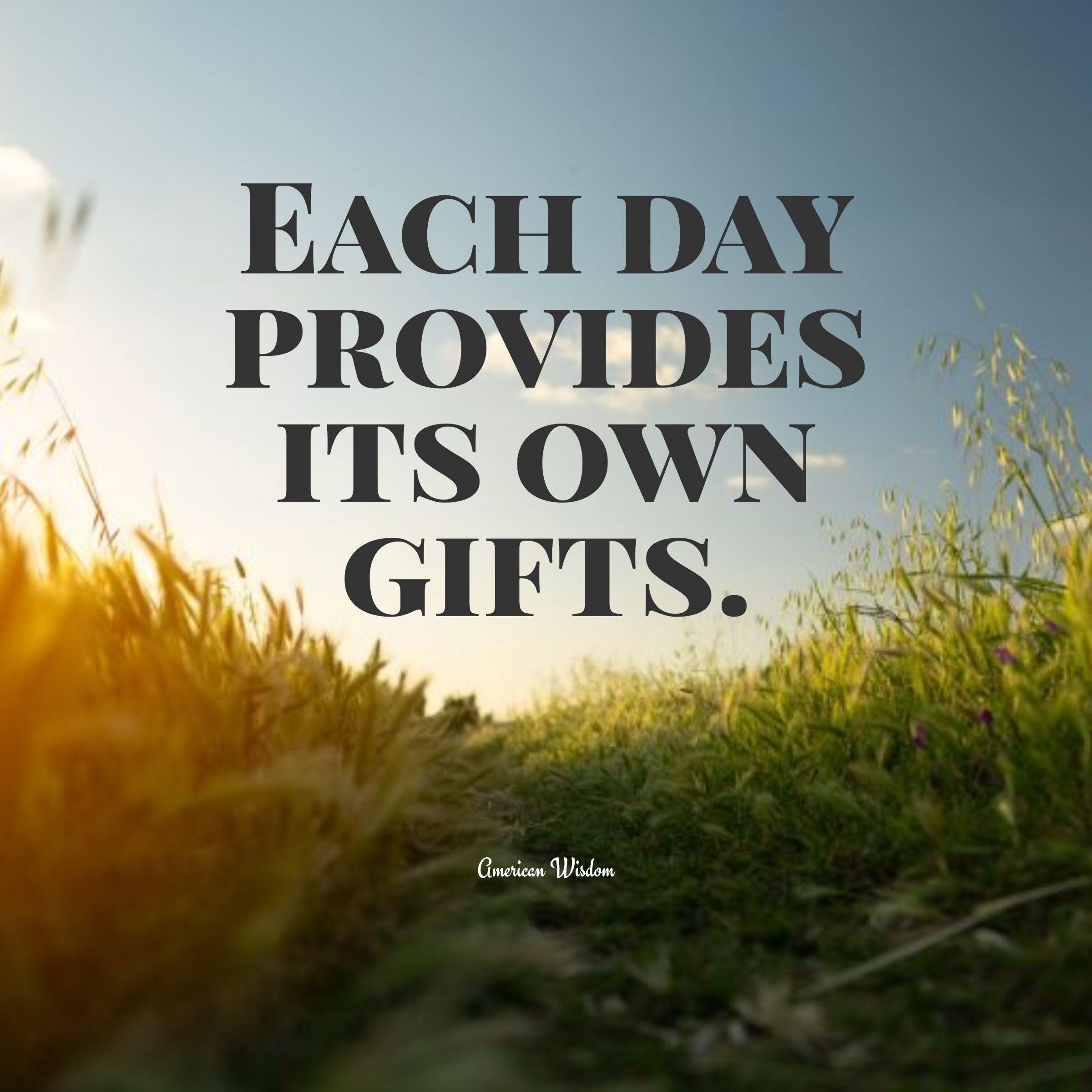 Quotes image of Each day provides its own gifts.