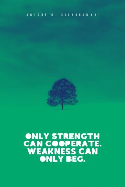 Dwight D. Eisenhower 's quote about cooperate,strength. Only strength can cooperate. Weakness…