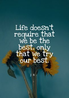 Jr. 's quote about life,try. Life doesn't require that we…