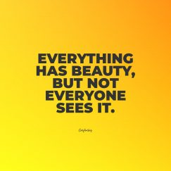 Confucius quote about beauty. Everything has beauty, but not everyone sees it.