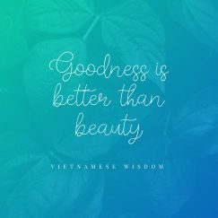 Vietnamese Wisdom 's quote about beauty,goodness. Goodness is better than beauty…