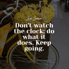 Sam Levenson 's quote about action,time. Don't watch the clock; do…