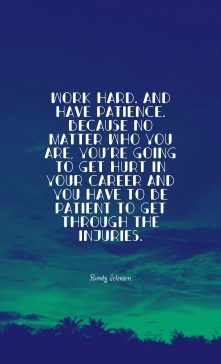 Randy Johnson 's quote about career,patience. Work hard. And have patience….