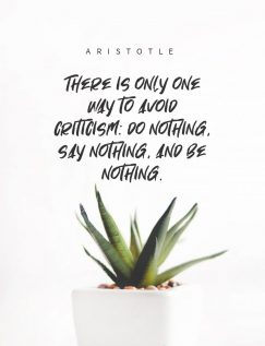Aristotle 's quote about critique. There is only one way…