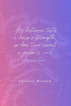 Chinese Wisdom 's quote about character. As distance tests a horse's…