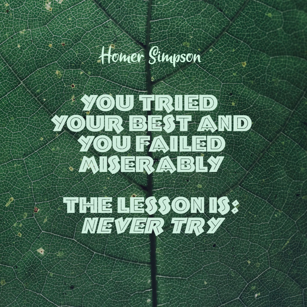Quotes image of You tried your best and you failed miserably. The lesson is, never try.