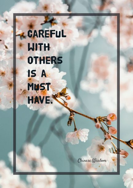 Chinese wisdom about careful.