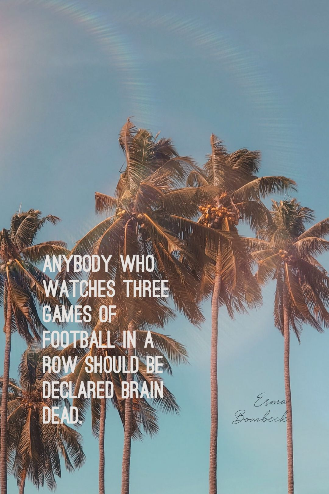 Quotes image of Anybody who watches three games of football in a row should be declared brain dead.