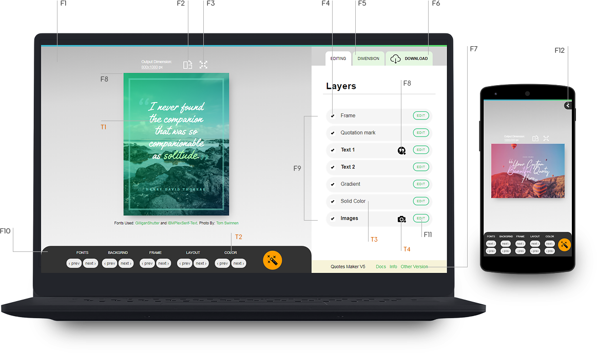 new quote maker v5 features