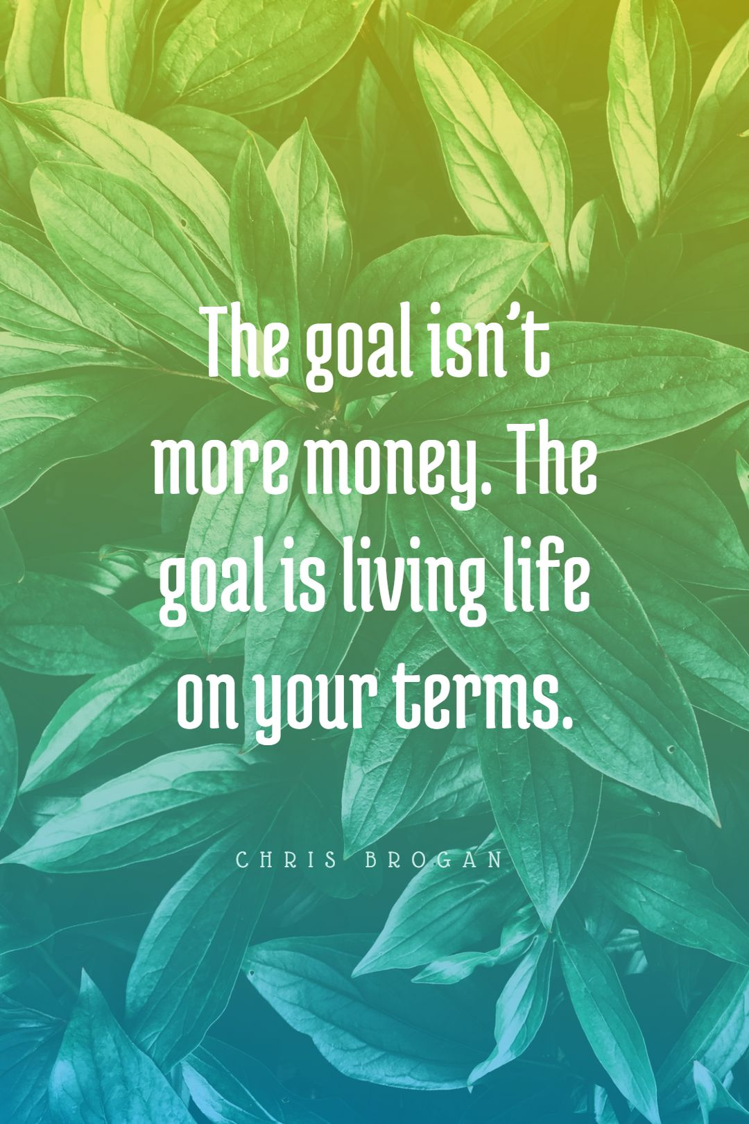 Quotes image of The goal isn't more money. The goal is living life on your terms.