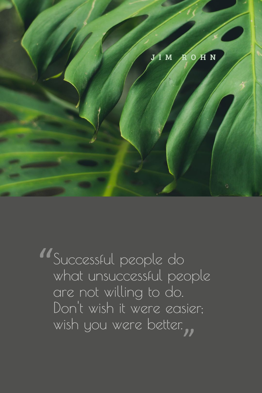 Quotes image of Successful people do what unsuccessful people are not willing to do. Don't wish it were easier; wish you were better.