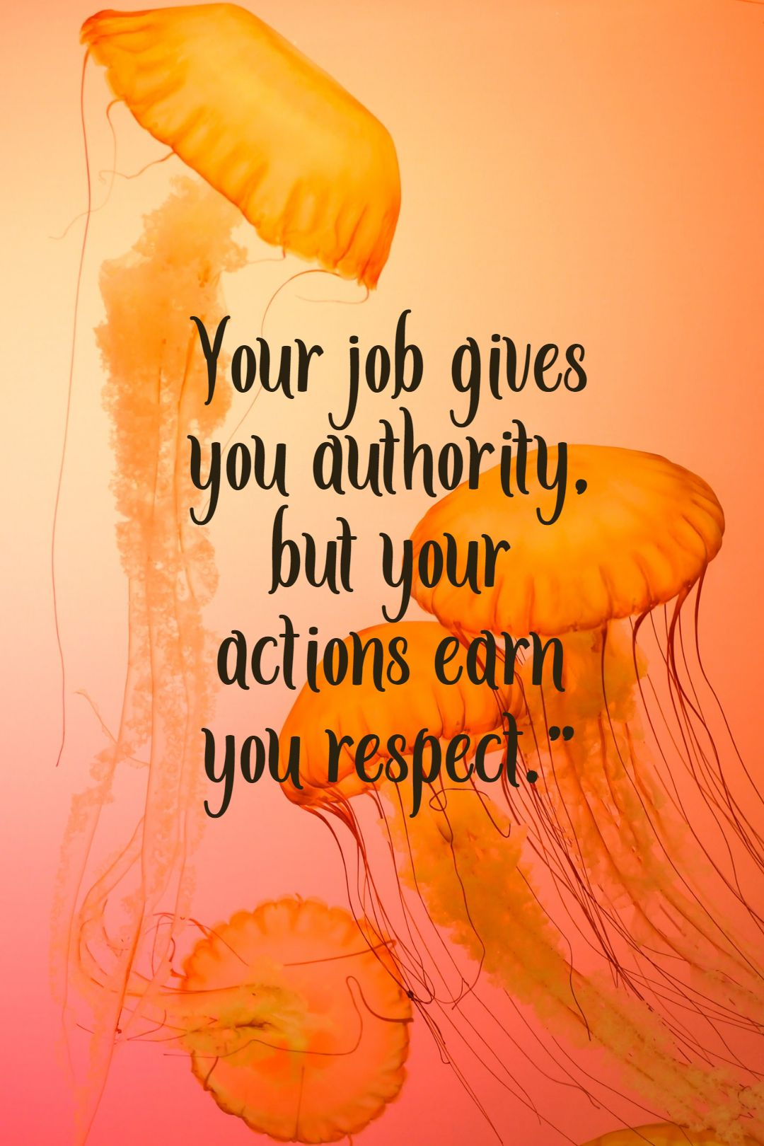 Quotes image of Your job gives you authority, but your actions earn you respect