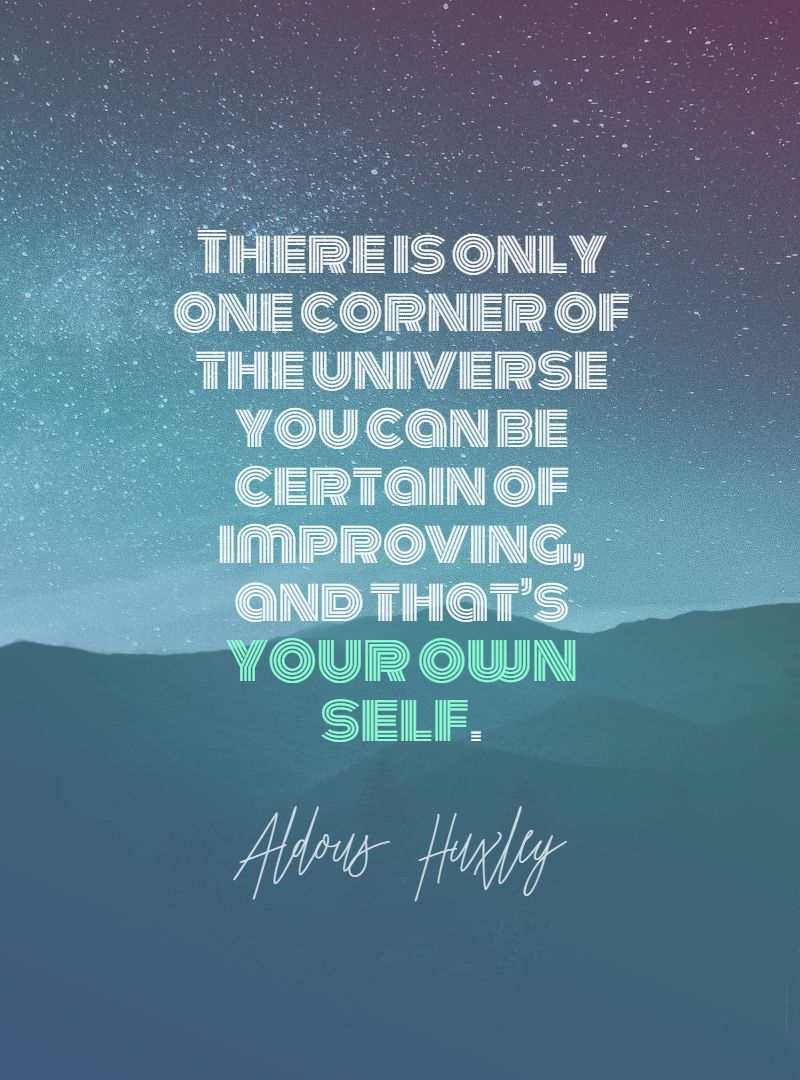 Quotes image of There is only one corner of the universe you can be certain of improving, and that's your own self.
