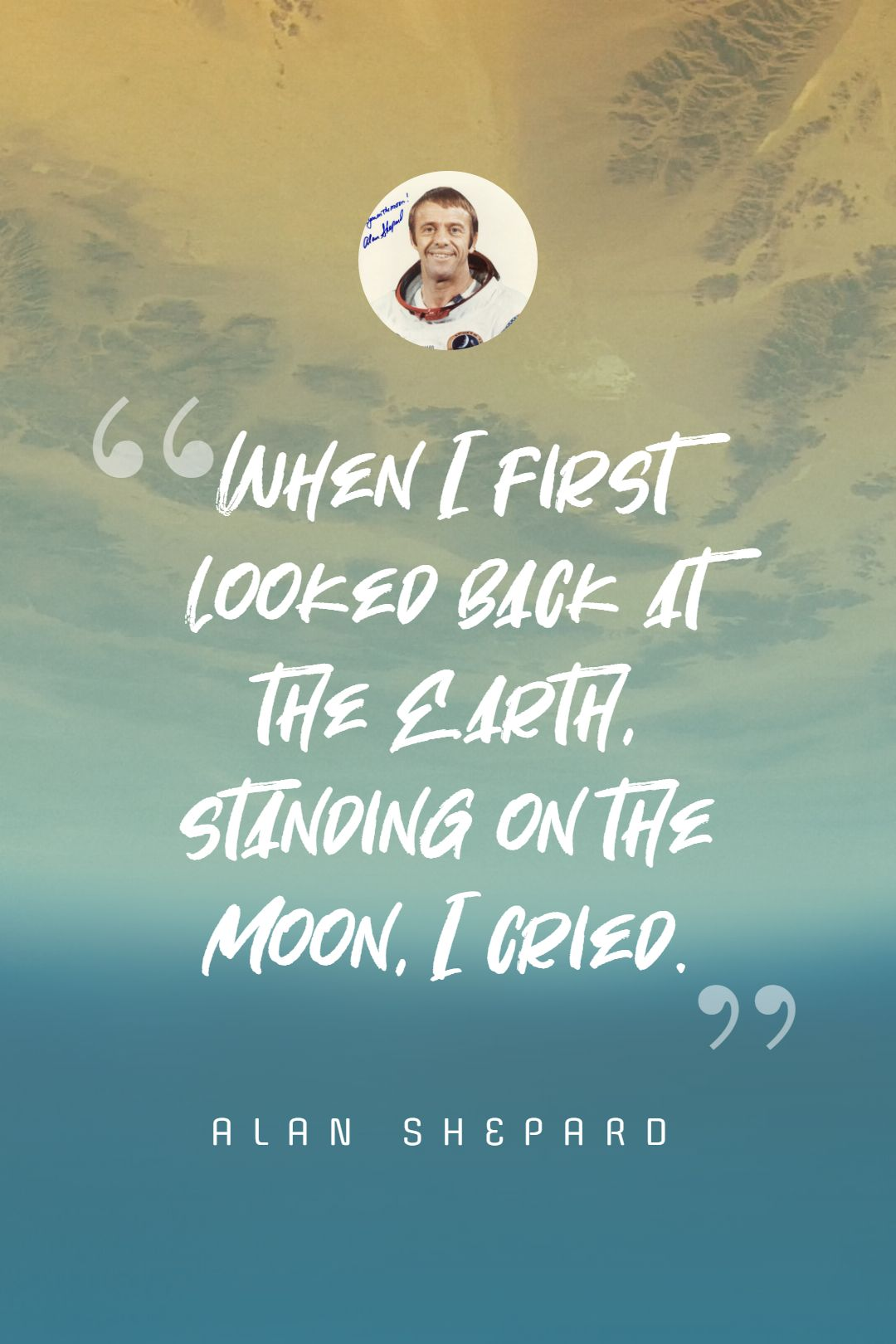 Quotes image of When I first looked back at the Earth, standing on the Moon, I cried.