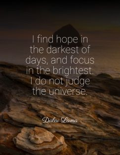 I find hope in the darkest of days, and focus in the brightest. I do not judge the universe.