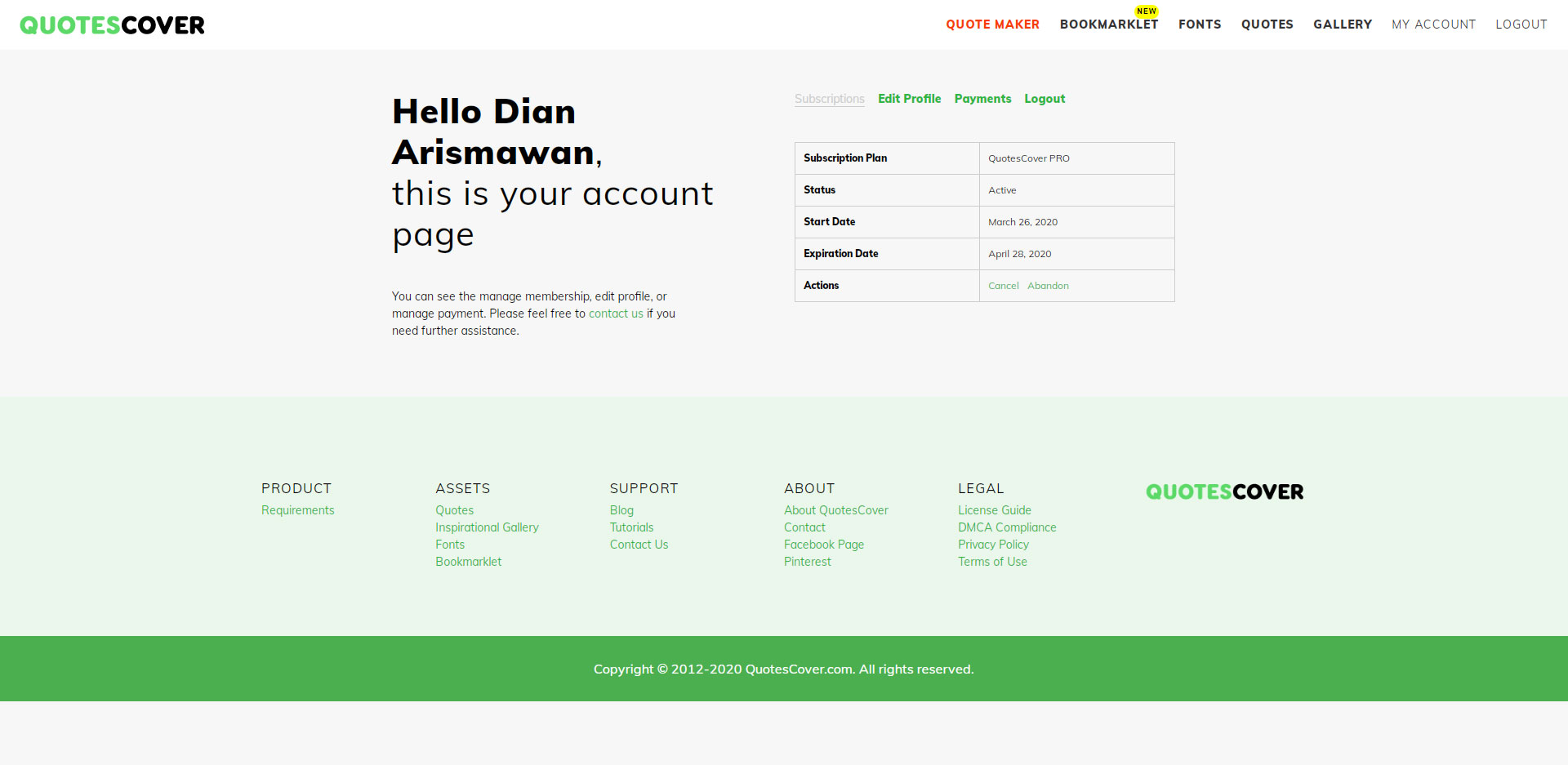 Members Page Screenshot: Account Dashboard