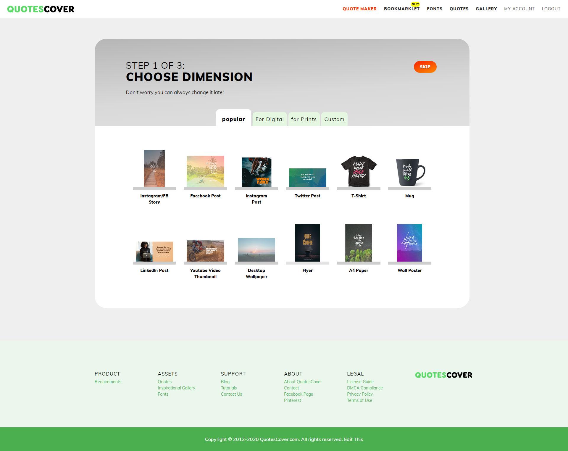 Members Page Screenshot: Step 1. Choose Dimension