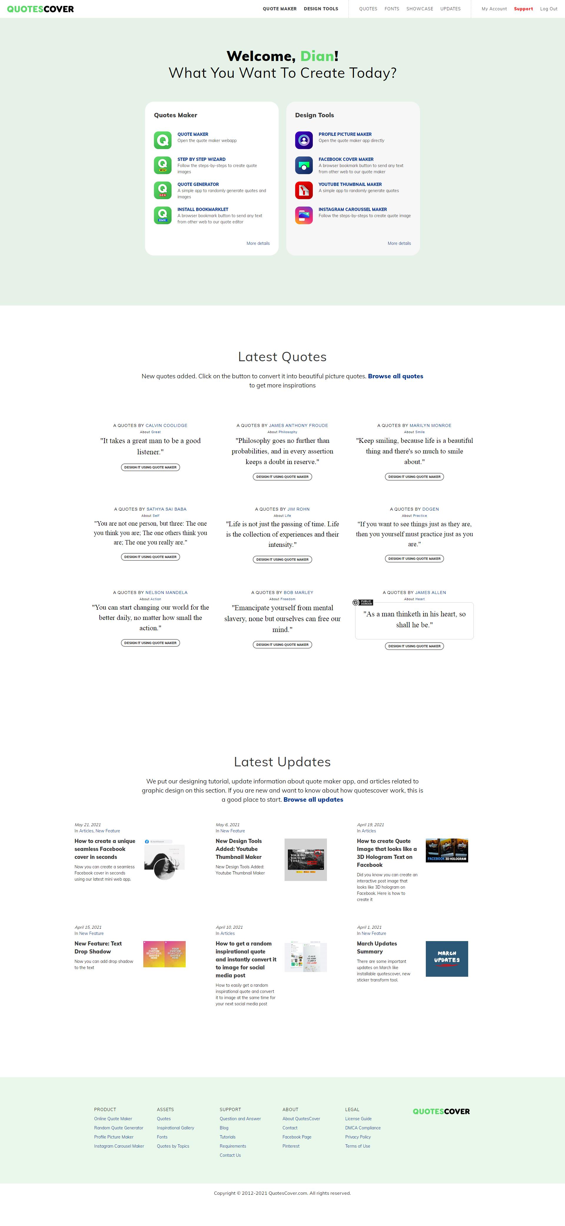 Members Page Screenshot: The Homepage