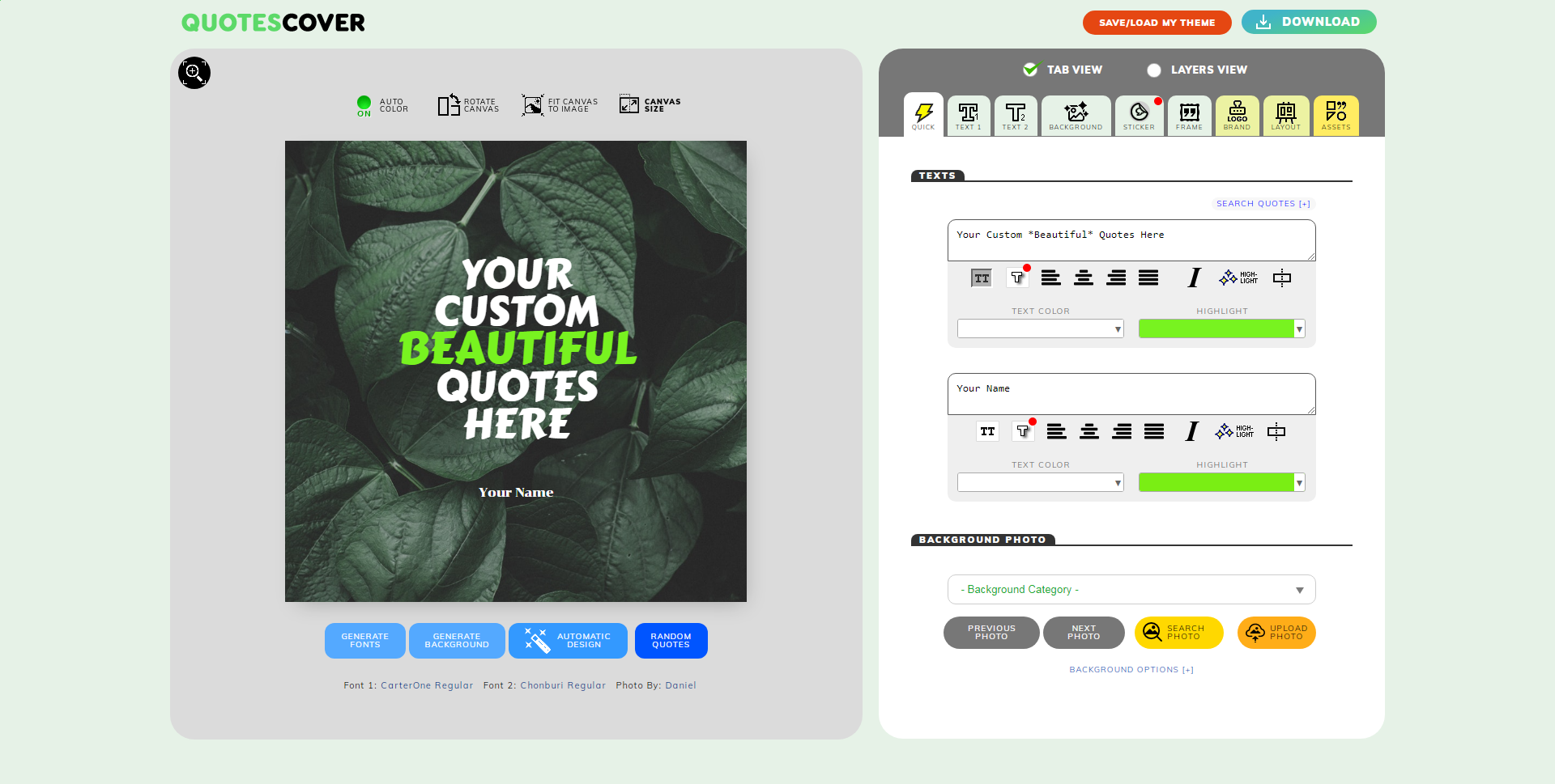 Members Page Screenshot: The Quote Maker Editor