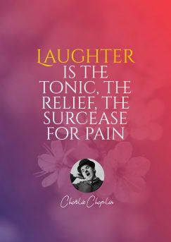 Designing quotes poster from Charlie Chapplin about laughter