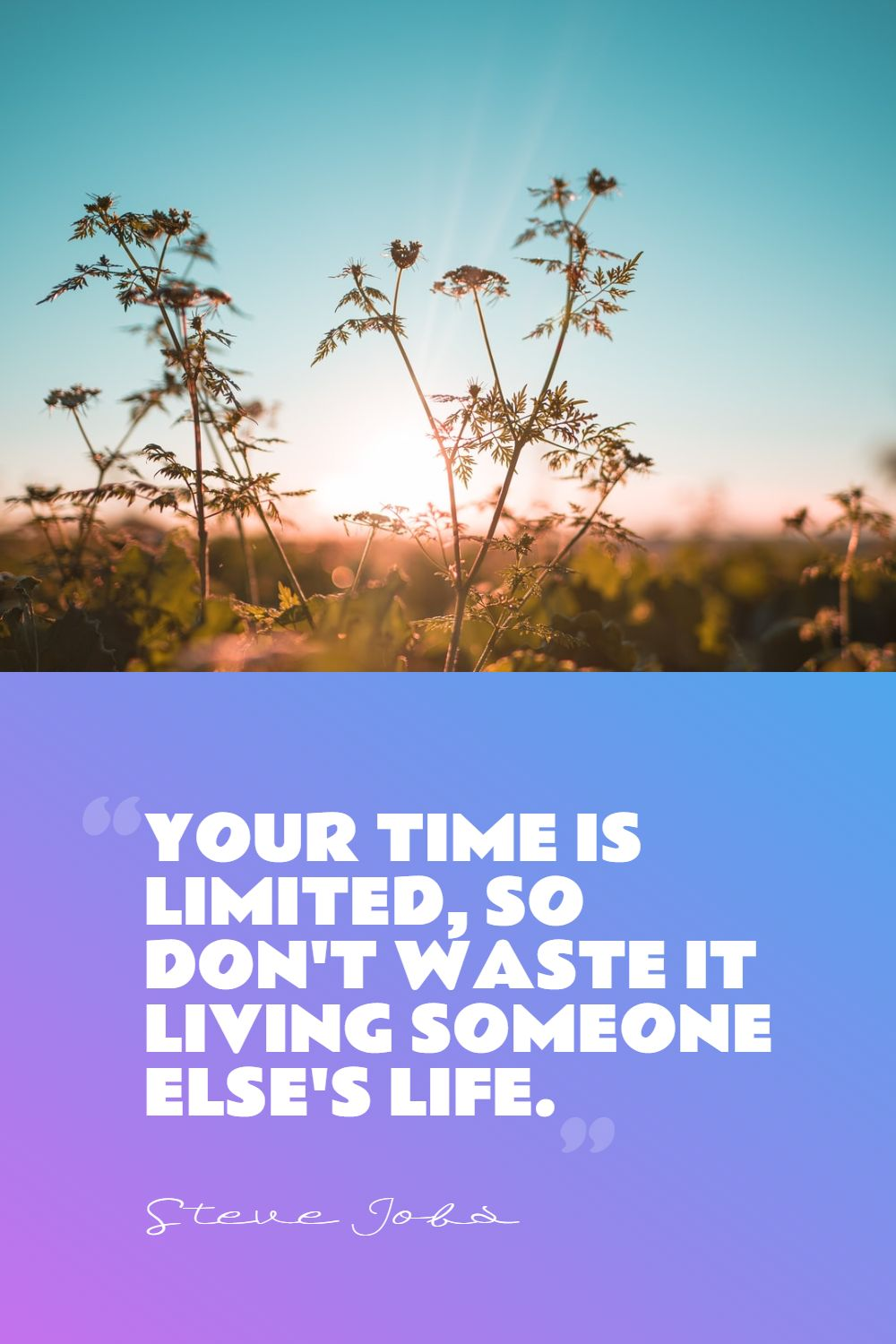 Quotes image of Your time is limited, so don't waste it living someone else's life.