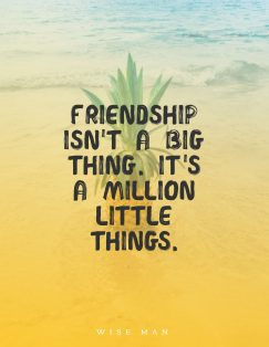 wise man's quote about friendship. Friendship isn't a big thing….