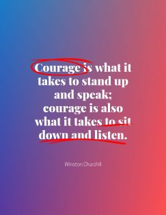 Winston Churchill's quote about courage. Courage is what it takes…