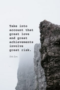 Dalai Lama's quote about risk. Take into account that great…