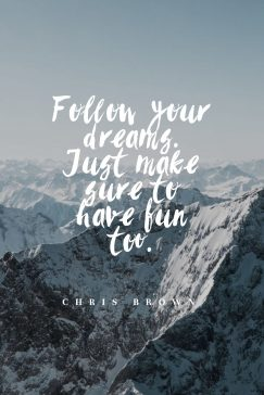 Chris Brown's quote about dreams, fun. Follow your dreams. Just make…