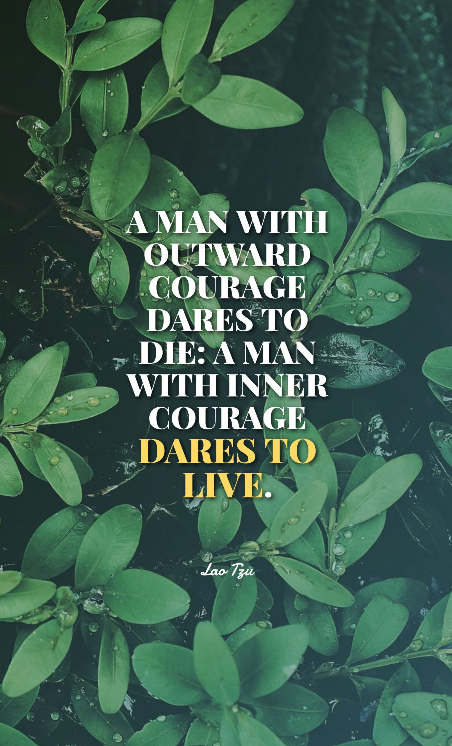 Quotes image of A man with outward courage dares to die: a man with inner courage dares to live.