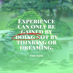 Byron Pulsifer's quote about Experience. Experience can only be gained…