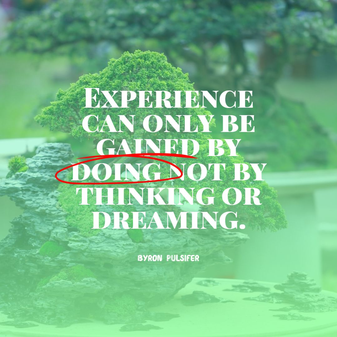 Quotes image of Experience can only be gained by doing not by thinking or dreaming.