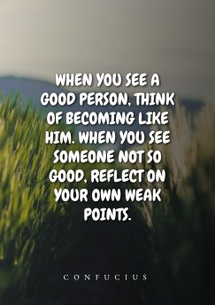 Confucius's quote about reflection, model. When you see a good…