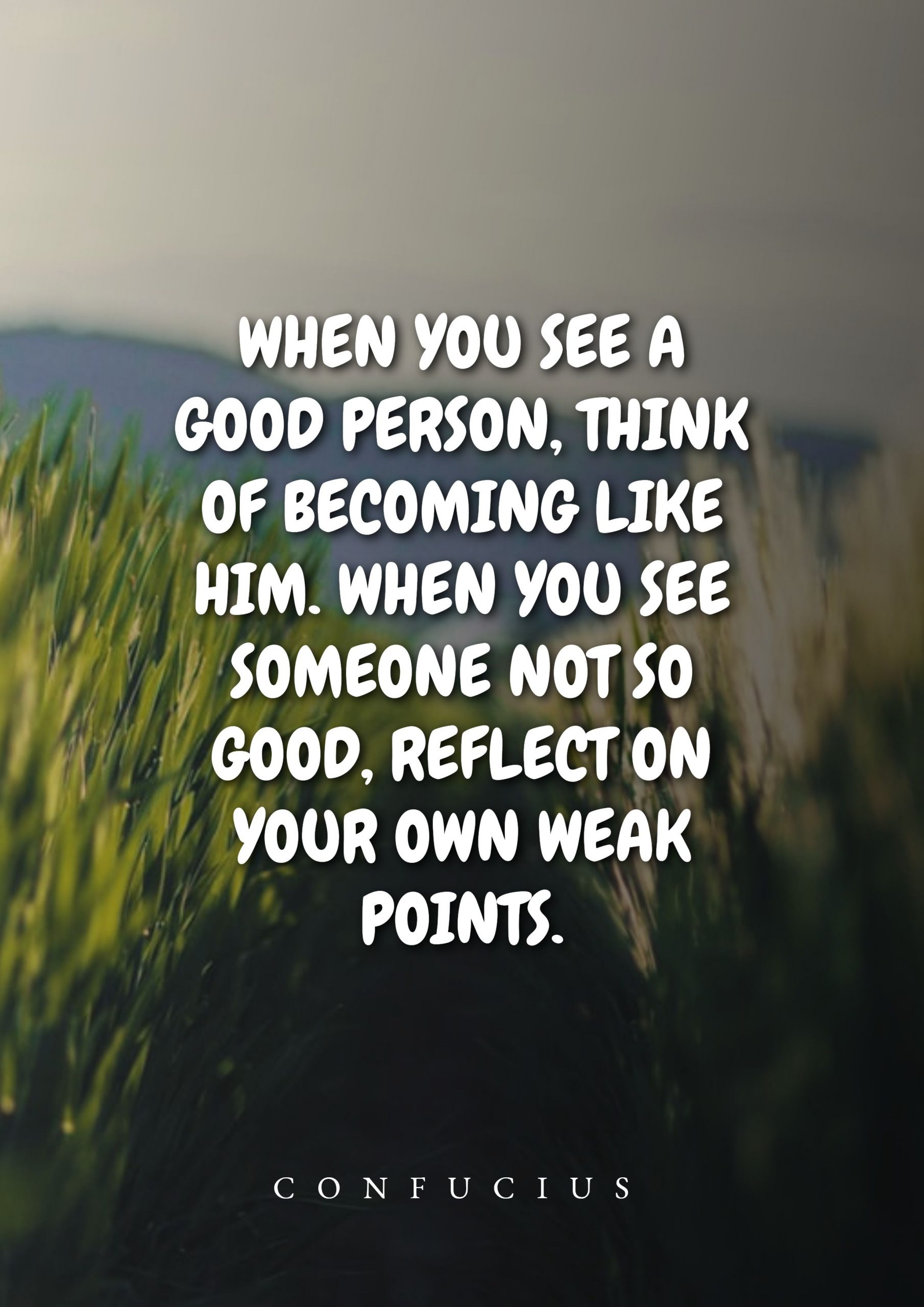 Quotes image of When you see a good person, think of becoming like him. When you see someone not so good, reflect on your own weak points.