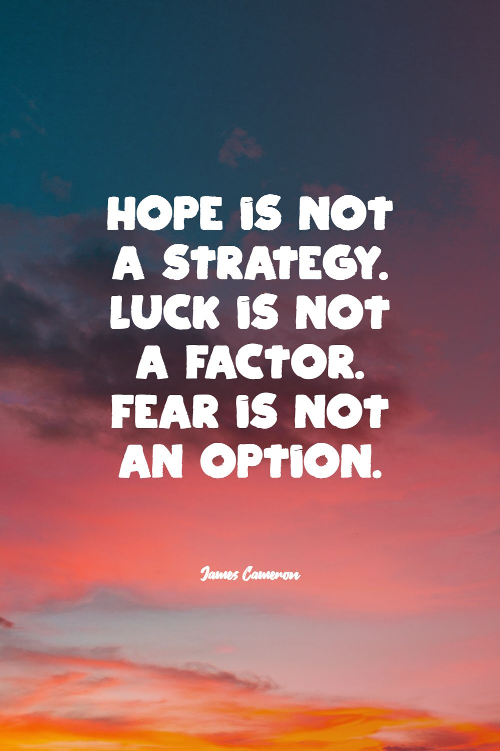 Quotes image of Hope is not a strategy. Luck is not a factor. Fear is not an option.