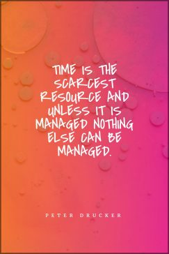 Peter Drucker's quote about business. Time is the scarcest resource…