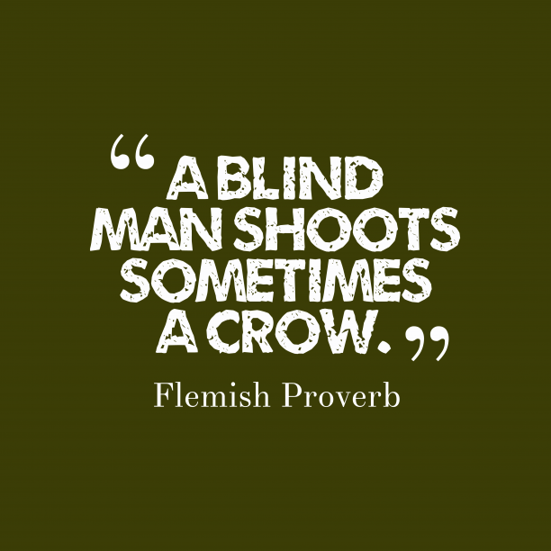Flemish Wisdom 's quote about . A blind man shoots sometimes…