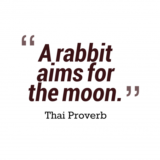 Thai Wisdom 's quote about . A rabbit aims for the…