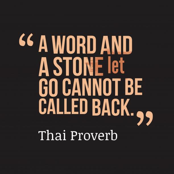 Thai wisdom about word.