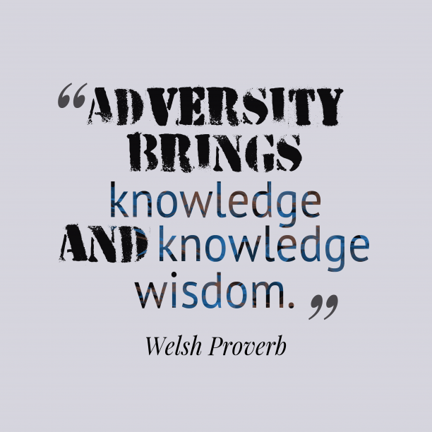 Welsh Wisdom 's quote about . Adversity brings knowledge and knowledge…