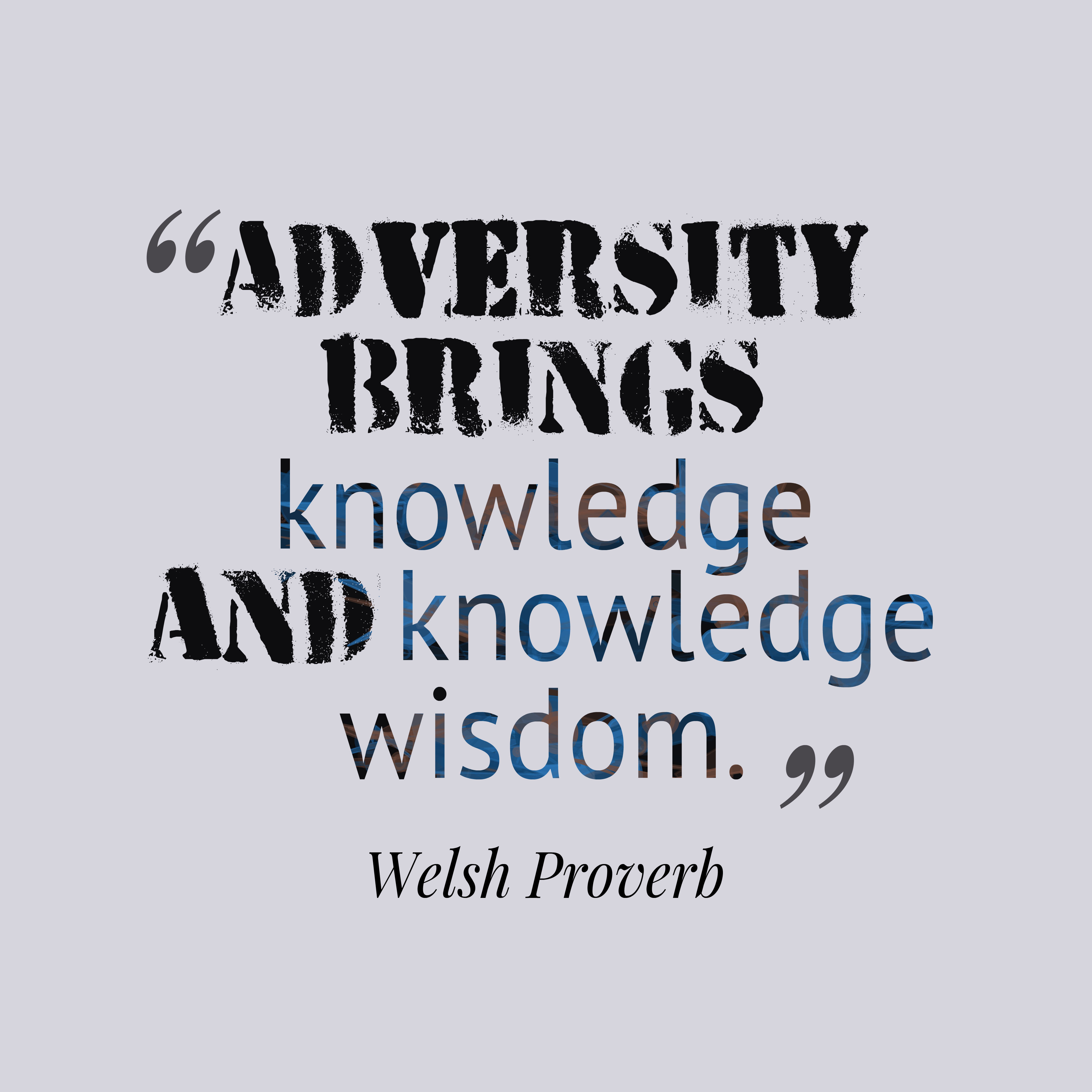 Quotes image of Adversity brings knowledge and knowledge wisdom.