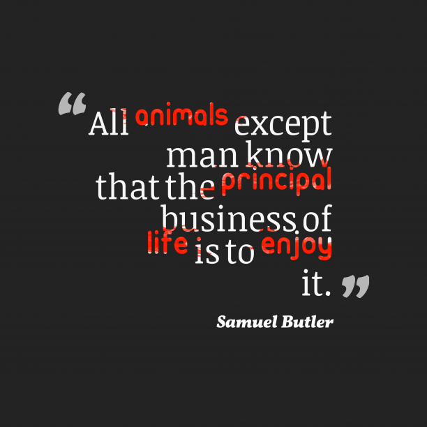 Samuel Butler 's quote about . All animals except man know…