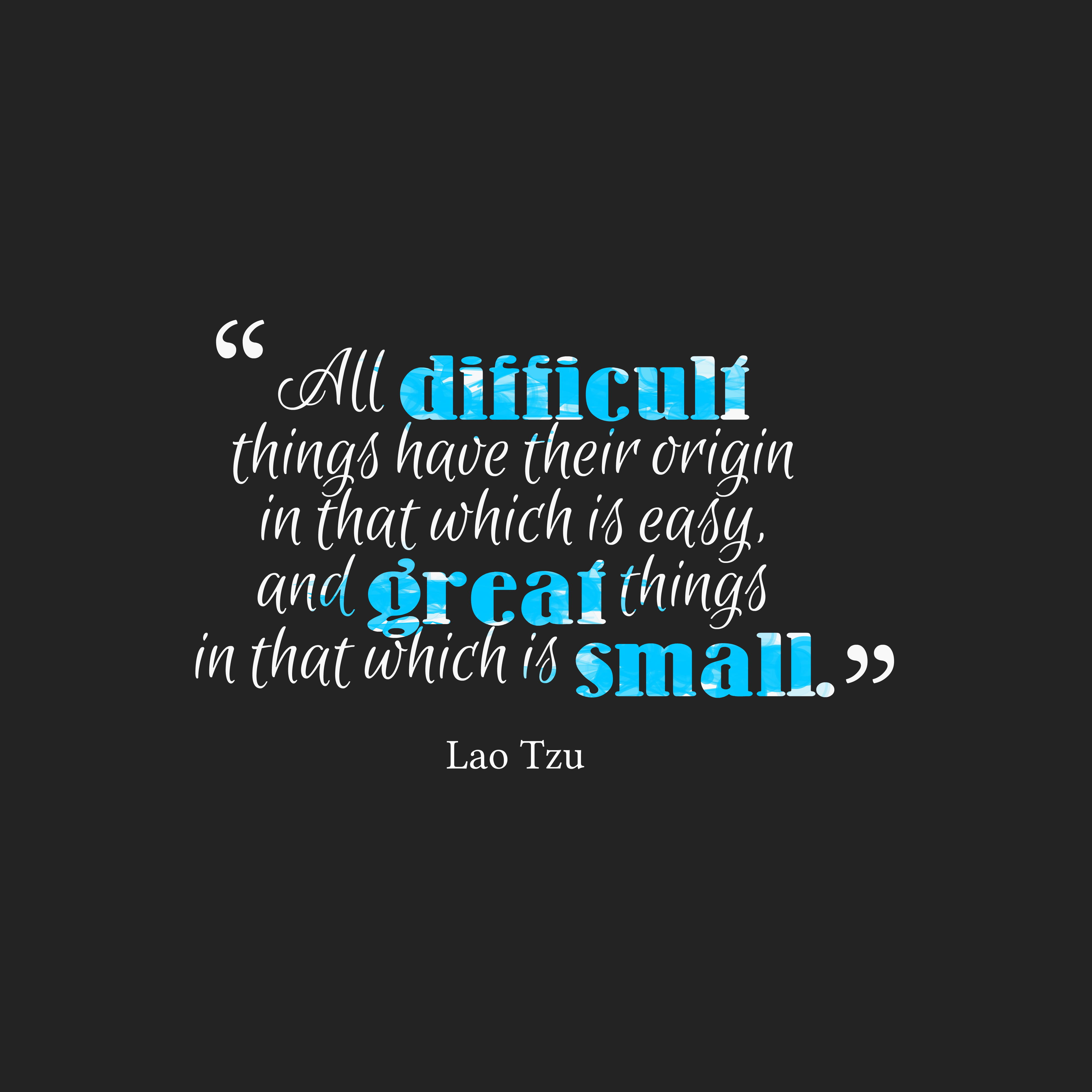 Quotes image of All difficult things have their origin in that which is easy, and great things in that which is small.