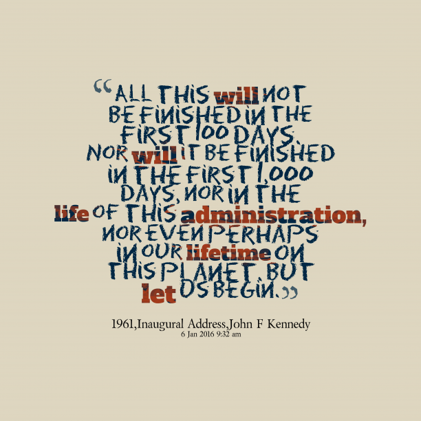 John F Kennedy 's quote about . All this will not be…