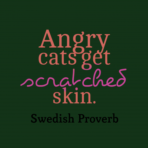 Swedish Wisdom 's quote about Angry. Angry cats get scratched skin….