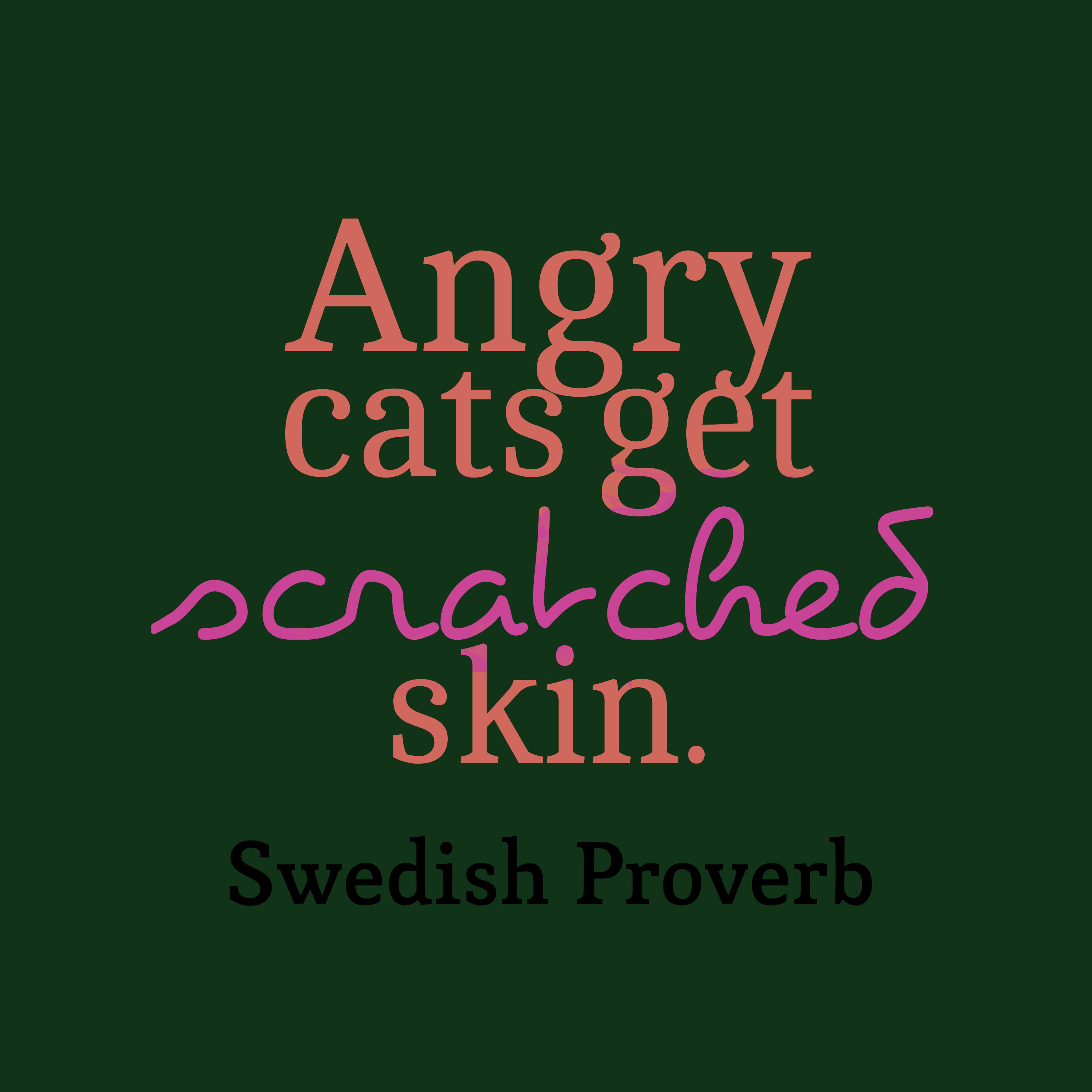 Quotes image of Angry cats get scratched skin.
