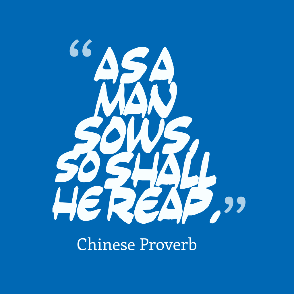 Chinese proverb about return for action.