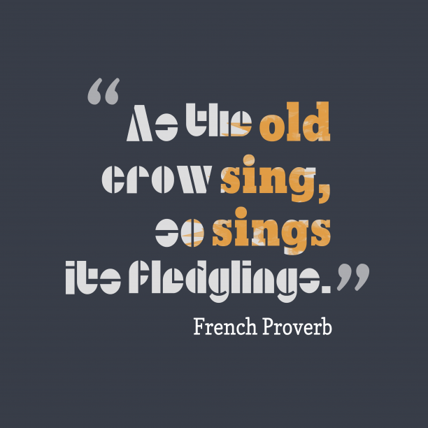 French Wisdom 's quote about . As the old crow sing,…
