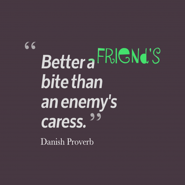 Danish Proverb quote about enemy.