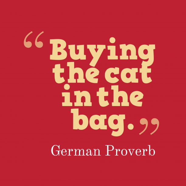 German Wisdom 's quote about . Buying the cat in the…